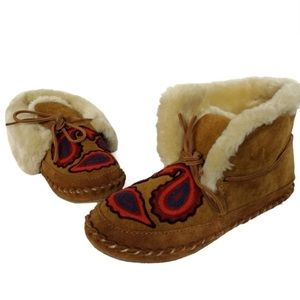 Lucky Shearling Suede Embroidered Boho Moccasin 8